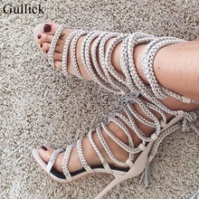 Chain Rope Lace Up Sandals Women High Heel Stiletto Tassel Gladiator Boots 2018 Summer Lace-up Strappy Shoes