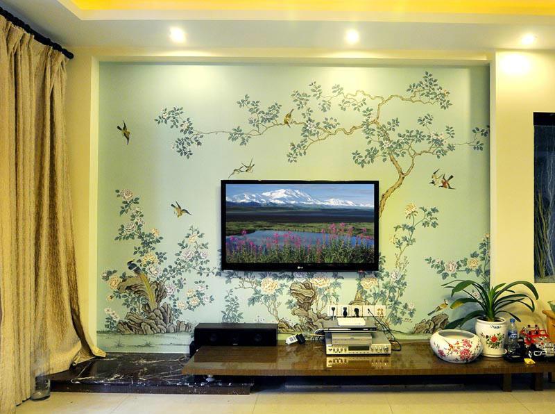 Ручная роспись шелковые обои Европейский стиль живопись цветок с птицами ручная роспись настенная бумага много фотографий/фонов дополнительно