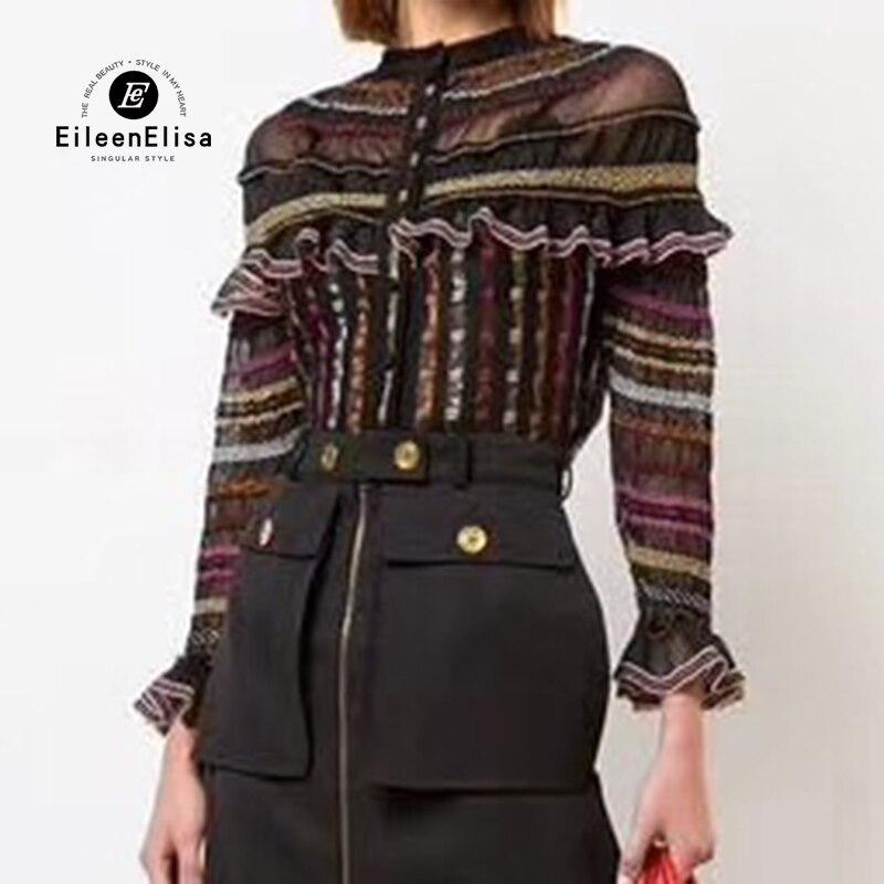 Длинные рукава оборками Сексуальная Блузка рубашка Женщины 2018 Лето Осень Сельма Полосатый blusas топы