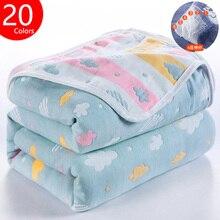 Детское одеяло муслин хлопок 6 слоев новорожденный пеленание осень ребенок деформация пеленка одеяло младенческое постельное белье получение одеяло