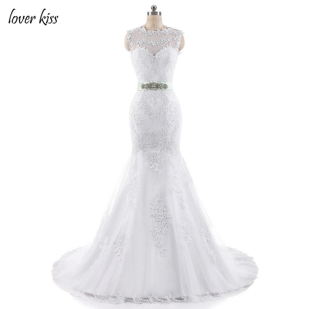 Lover Kiss Vestido De Noiva 2017 Robe De Mariee Elegant Lace Body Sleeveless Wedding Dress Sexy Mermaid Wedding Dress