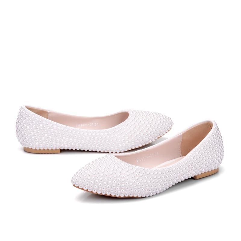 Zapatos Madre Heel Dama Rendimiento Novia Perla Plano Blanca white Baile Aniversario Flat Ivory La Talón Heel Ceremonia De Boda w7XSqUz