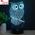 (Shipped From USA Warehouse) HY OWL 3D Novelty Light 7 Colors Changing LED Lamp Luminaria Lights Action Figure Kids Gift Toy