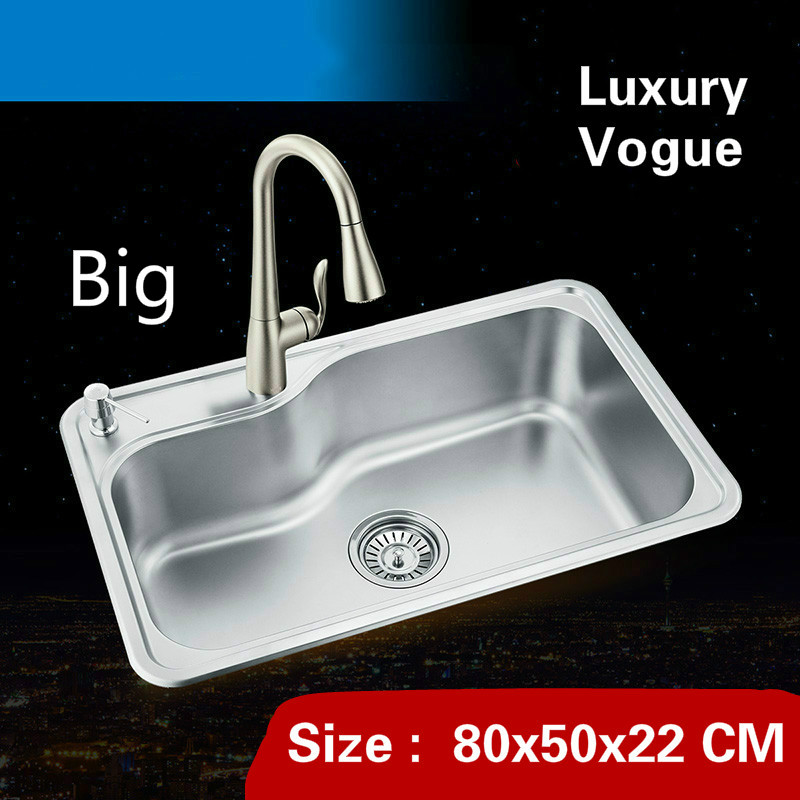 Free shipping Standard luxurious kitchen big double groove sink food grade 304 stainless steel whole drawing hot sell 80×50 CM