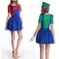 Принцесса super mario bros женский костюм для взрослых девушка косплей луиджи марио ребенок рубашка супер марио хэллоуин костюмы одежда