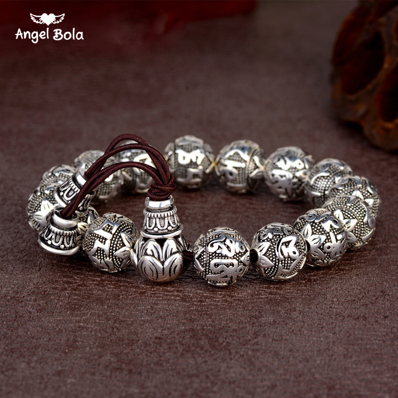 Charm Fine Retro Tibetan Buddhism Plated Thai Silver Rope Bracelet Men Six Words Mantras OM MANI PADME HUM Lotus Beads Bracelet 16mm round sandalwood thai silver beads bracelet for women buddhism six letter scripture women men fine silver 990 jewelry sb69