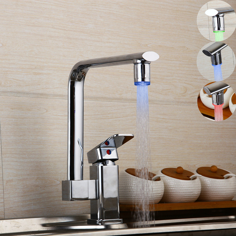 360 Swivel Chrome Brass Water Faucet Led Bathroom Kitchen Basin Sink Faucet Stream Faucet Led Faucet torneira Mixer 360 swivel kitchen sink faucet chrome brass finish stream spout bathroom faucet hot