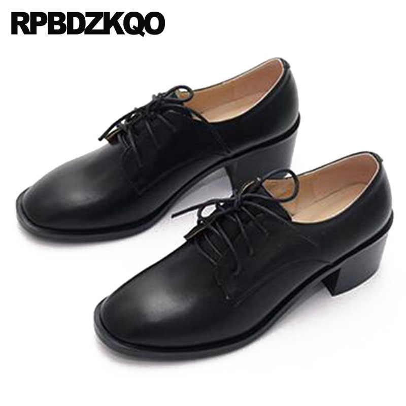 lace up genuine leather big size women pumps 2018 shoes chunky 4 34 square  toe oxford b093d98ffc97