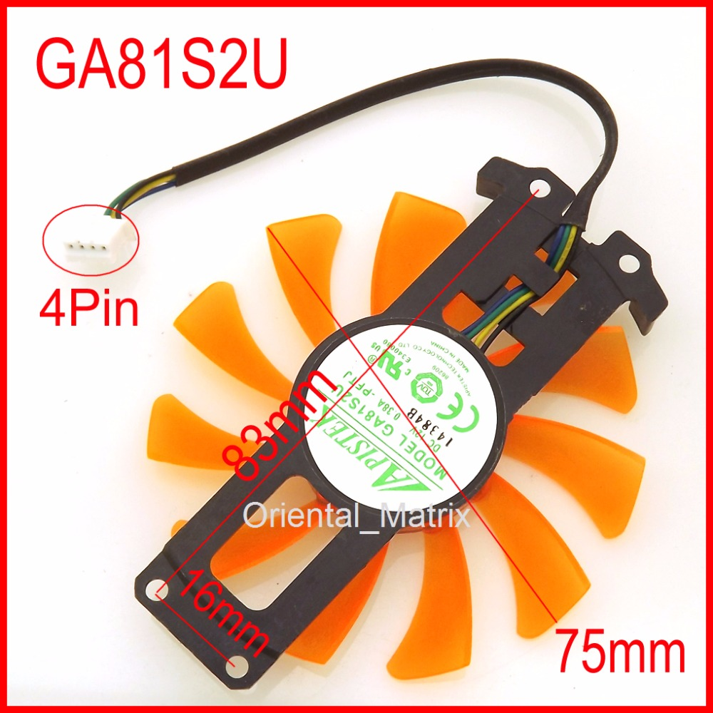 Free Shipping APISTEK GA81S2U 12V 0.38A 40*40*40mm 4Pin For ZOTAC GTX 980-4GD5 AMP HA Graphics Card Cooler Cooling Fan 4pin mgt8012yr w20 graphics card fan vga cooler for xfx gts250 gs 250x ydf5 gts260 video card cooling