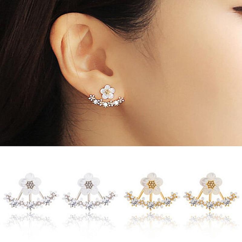 Zircon Crystal 3 Colors Rose Gold Ear Cuff Clip Daisy Flower Stud Earrings For Women Jacket