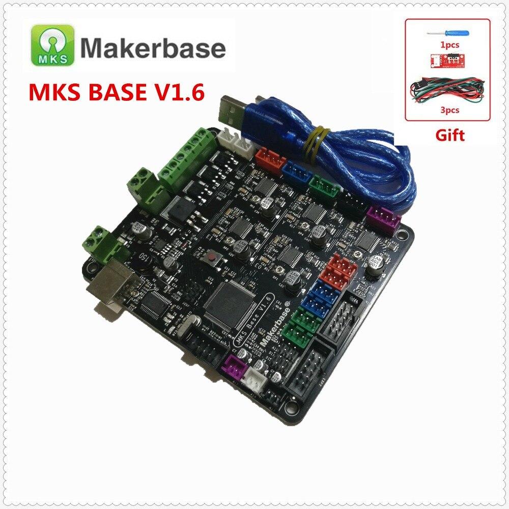 Carte d'imprimante MKS BASE V1.6 3D carte de circuit intégré compatible Mega 2560 R3 & RAMPS1.4 carte de commande Marlin RepRap Mendel i3
