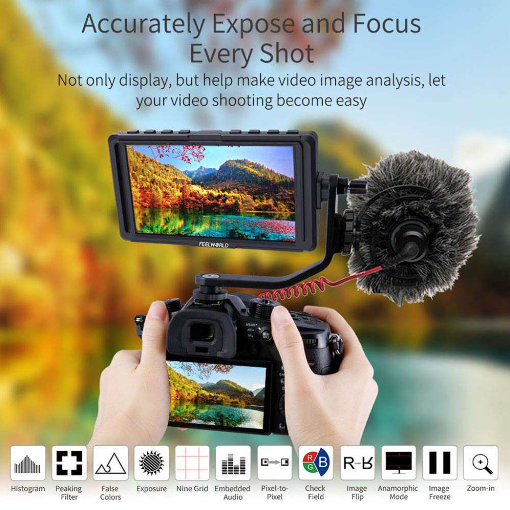 4K HDMI Input/ Output Without Delay 5 inch DSLR On Camera Field Monitor Small Full HD 1920x1080 Video 2019 New Fashion design image