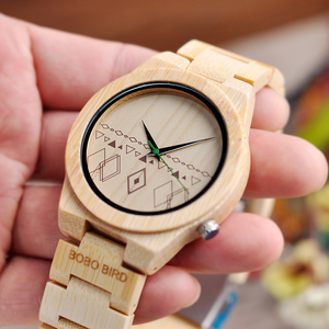 Image 2 - Relogio masculino BOBO kuş erkekler saatler bambu ahşap saatler kuvars kol saatleri ahşap kutu kabul Logo damla nakliye