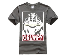 Men's Snow White and Seven Dwarfs Grumpy Graphic T-Shirt Stranger Things Design T Shirt  Broadcloth  O-Neck