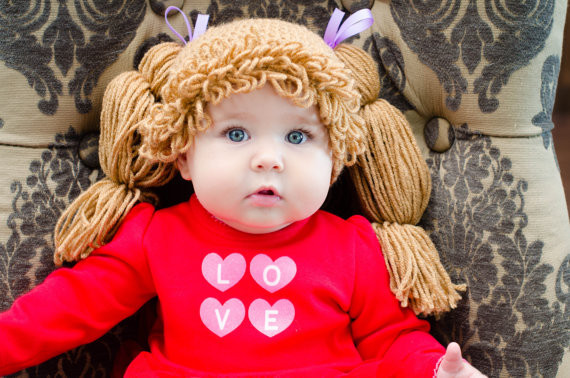 handmade crochet baby pig tail plait wig hat cabbage patch style photo props 0-3