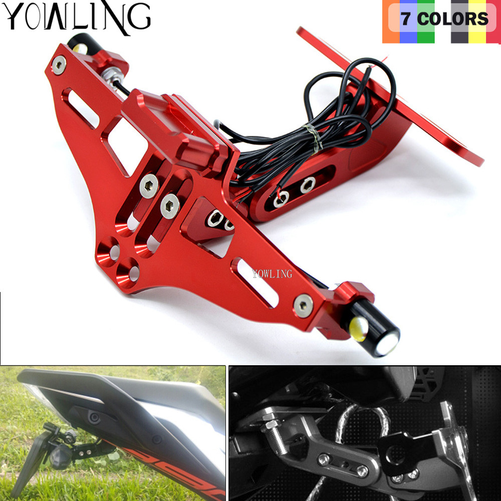CNC LED Light Rear License Plate Mount Holder with For Yamaha YZF-R1 R3 R6//S R25