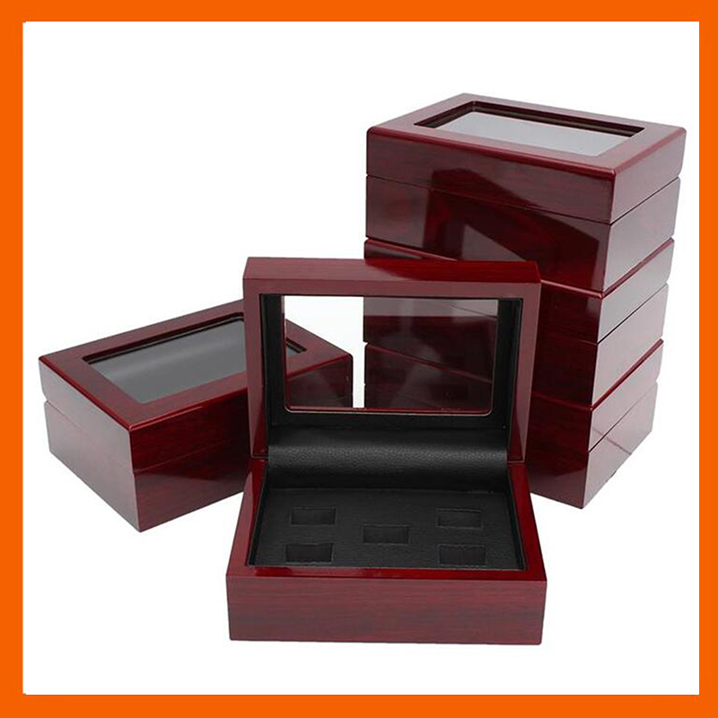 HOLDING 2 3 4 5 6  RINGS WOODEN CASE CHAMPIONSHIP RINGS CLEAR TOP DISPLAY BOX 16*12*7(CM) DROP SHIPPING BY CARSON