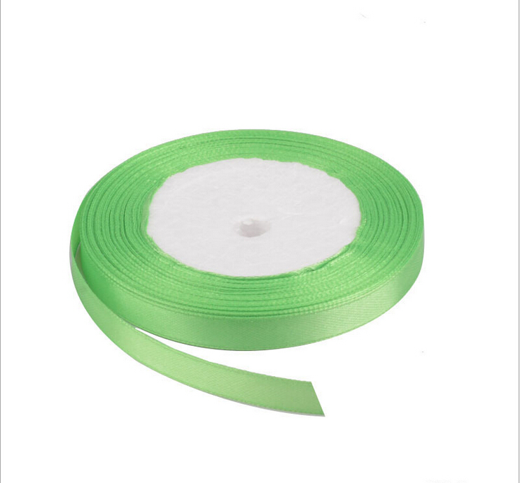 25 yardsroll 6mm l green color single face satin ribbon wholesale gift packing christmas ribbons d052