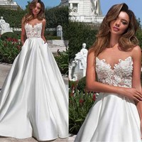 Scoop Sheer Neckline Lace Applique Satin A line Wedding Dress with Backless Chapel Train Garden Bridal Dress vestido de novia