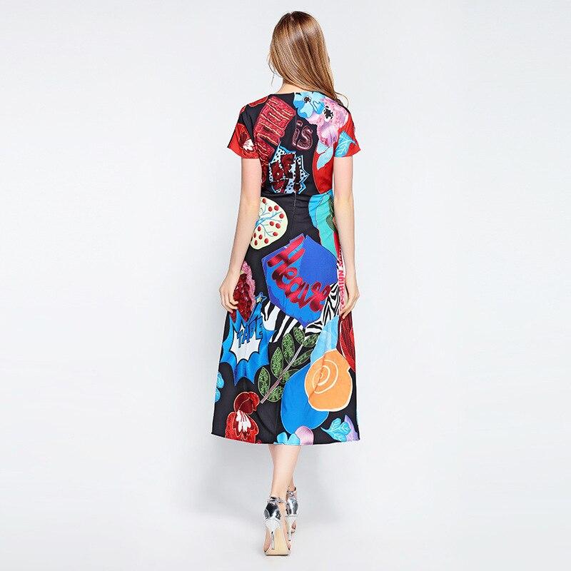 Haute Femmes Paillettes Cartton Qualité De Multi Élégante D'été Designer Mode S470 Imprimer Robe Lettre TcZ4Tr1zq