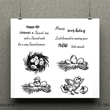 AZSG New Life Happy Birthday Brid Silicone Clear Stamps For Scrapbooking DIY Clip Art /Card Making Decoration Crafts