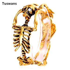 Image 4 - Skull Bracelet Big Skeleton Bones Statement Punk Jewelry Gold Color Stainless Steel Christmas Gift Gothic Bracelets Men