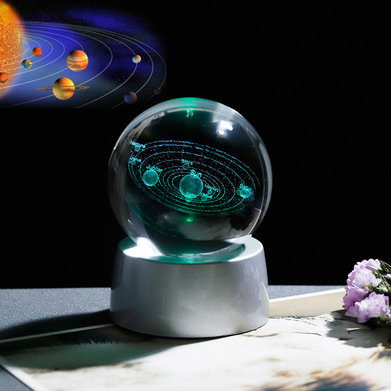 3D Crystal Planet Ball Gift for Astrophile Glass Solar System Ball with Chargeable LED Base Present for Kids Birthday in Party Favors from Home Garden
