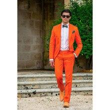 Sunshine Energetic Orange Tailcoat Peaked Lapel Groom Tuxedos Slim Fit Men's Wedding Dress Holiday Prom Clothing(Jacket+pants)