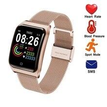 ONEVAN 1.3 cala inteligentna bransoletka Fitness ciśnienie krwi pulsometr wodoodporny kobiety nadgarstek metalowy męski zegarek na pasku