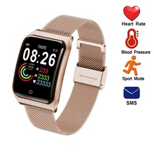 Onevan 1.3 Inch Smart Fitness Armband Bloeddruk Hartslagmeter Waterdicht Vrouwen Polsband Metalen Band Mannen Horloge
