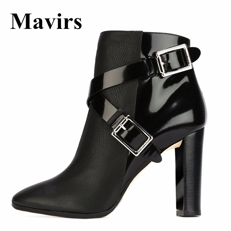 Mavirs Brand Black Womans Ankle Boots 2018 Spring Pointed Toe Strap Buckle 12CM Chunky High Heels Shoes US Size 5-15 double ankle strap chunky heels black