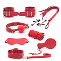 8 Pieces Red Leather Bondage Set Adult Game of Married Couples Handcuffs for Sex Toys for Adult Toys Womanizer