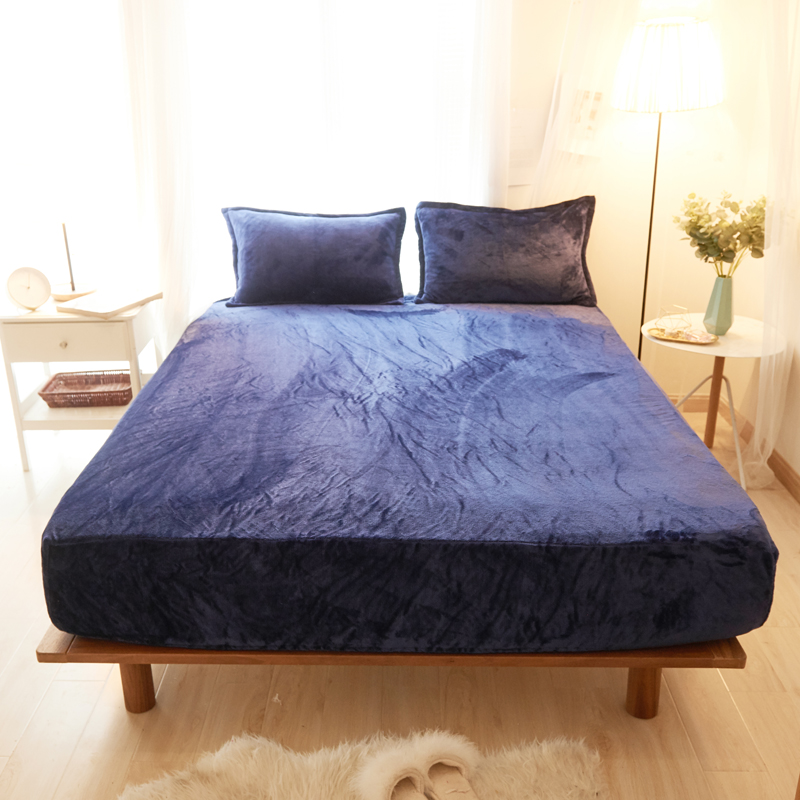 Dark Blue Solid Color Flannel Fabric 3Pcs Bed Sheet With Pillowcase Bed Linen Mattress Covers Fitted Sheet Sets With Elastic