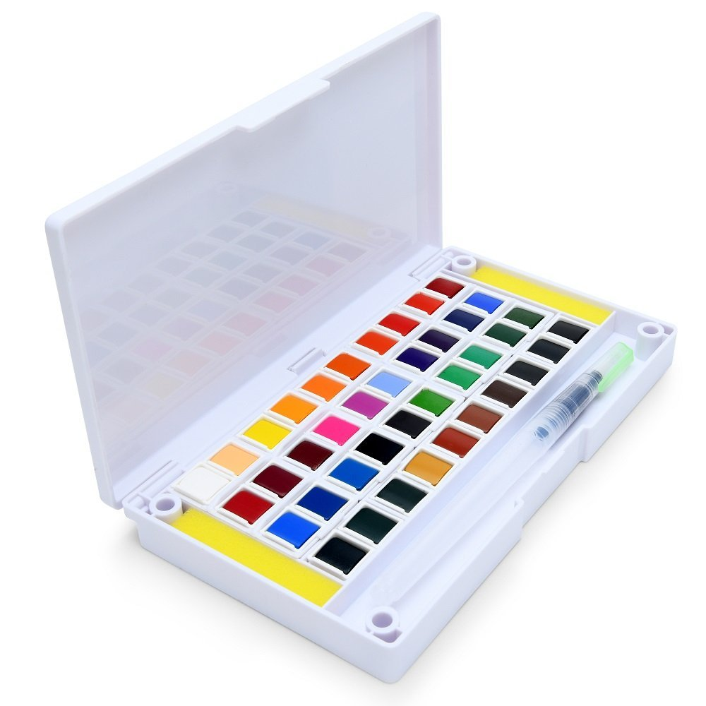 40 Watercolor Set Portable Water Colors Set Includes Water Brushes Sponges Mixing Palette