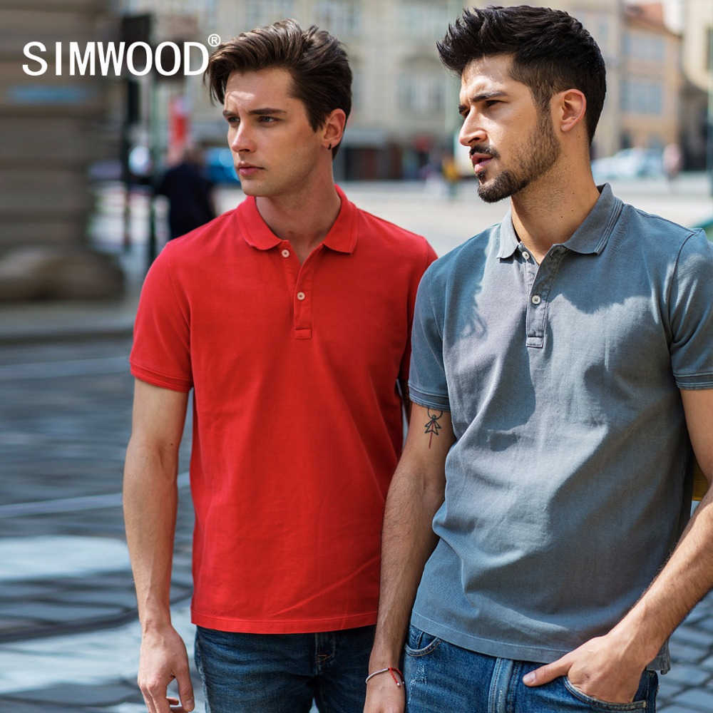 SIMWOOD 2019 Summer   Polo   Men Slim Fit Solid Color Washed Vintage Smart Casual Top Cotton   Polo   shirt men Fashion Tees 180251