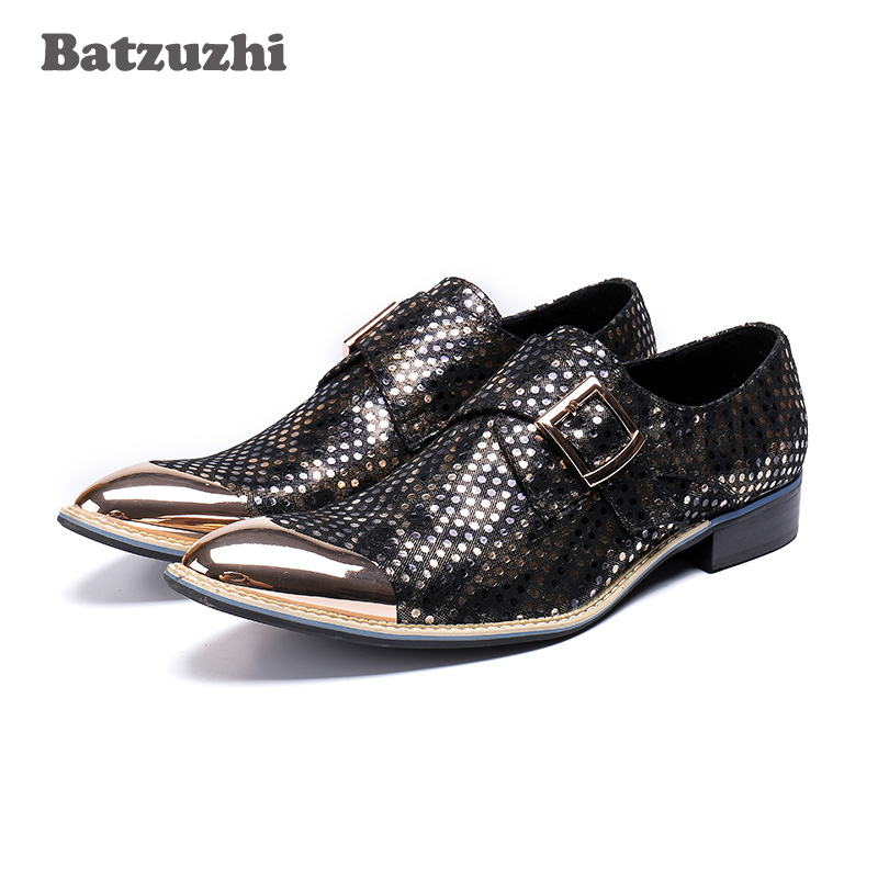 Batzuzhi Luxury Handmade Mens Shoes Zapatos Hombre Metal Pointed Toe Buckle Leather Shoes Men Formal Dress Shoes Business Party