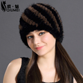 QiuMei Mink Fur Hat For Women Winter Hats Fashion Lined 2017 Natural Fur Female Cap Knitted New Caps Pineapple Real Mink Fur Hat