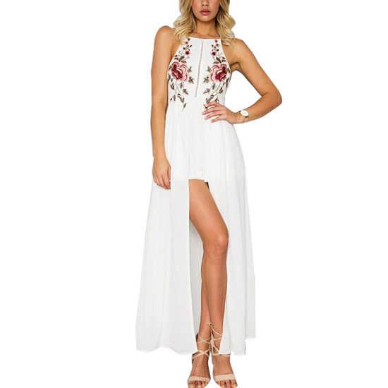 新トレンドファッションホルター背中刺繍シフォンの女性のドレスエレガントなイブニングロングドレスパーティー
