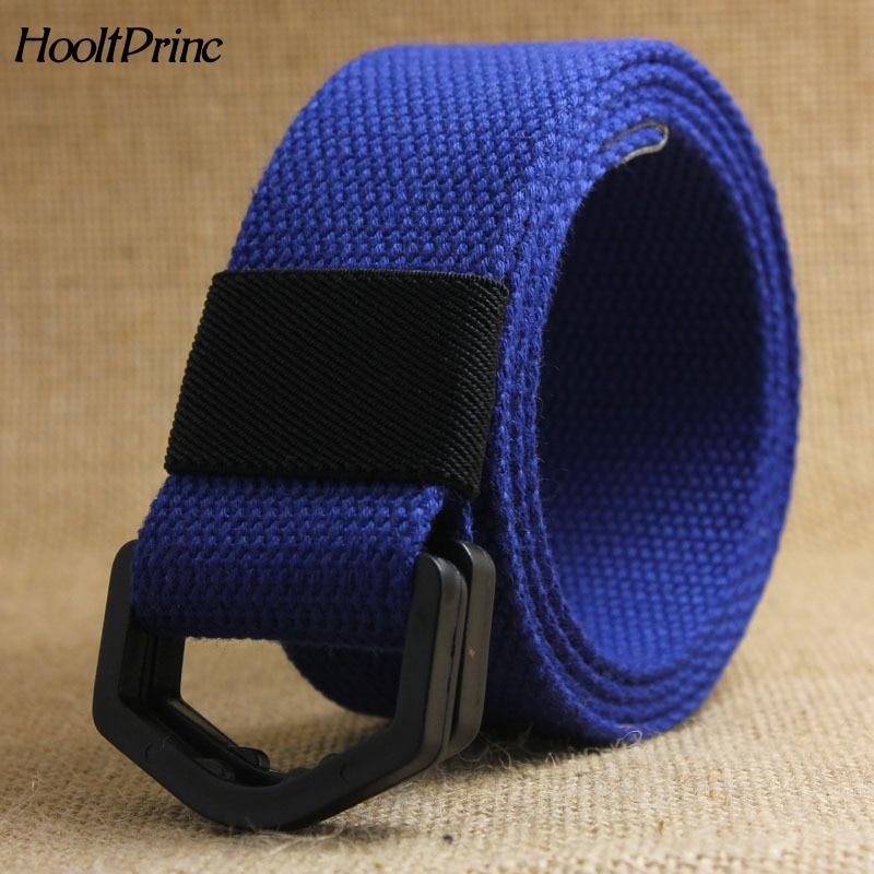 BrandFashion Unisex Fabric Webbing Waist Casual D Ring Buckle Plain Canvas Belt Anti Allergy Waistband