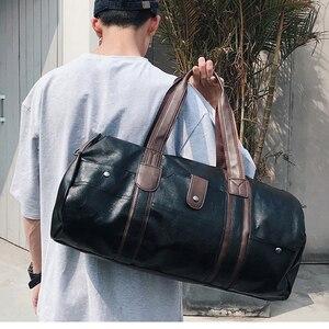 Image 5 - PU skórzane męskie torby podróżne codzienna torba na ramię marka mężczyźni torba torebka Tote Travel torba worek Vintage Sac De Voyage