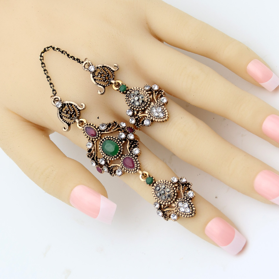 Fashion Arabesque Ethnic Flower Ring Turkish Antique Women Gold Color Royal Vintage Jewelry Link Two Fingers Ring Festival Gift