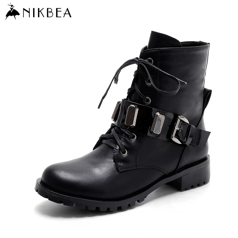aliexpress buy nikbea brand flat ankle boots for