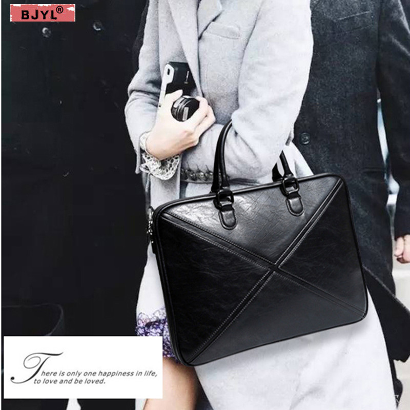 BJYL Men and Women briefcase thin section business 14 Laptop genuine leather handbag female shoulder notebook messenger bag aetoo with leather handbag section briefcase men and women fashion personality business package canvas laptop bag 15 inch