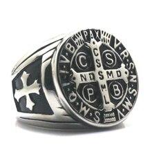 Мужские CSPB CSSML NDSMD Святого Бенедикта нурсийской католической церкви христианский Иисус Изгоняющий серебряный крест кольцо 316L нержавеющая сталь