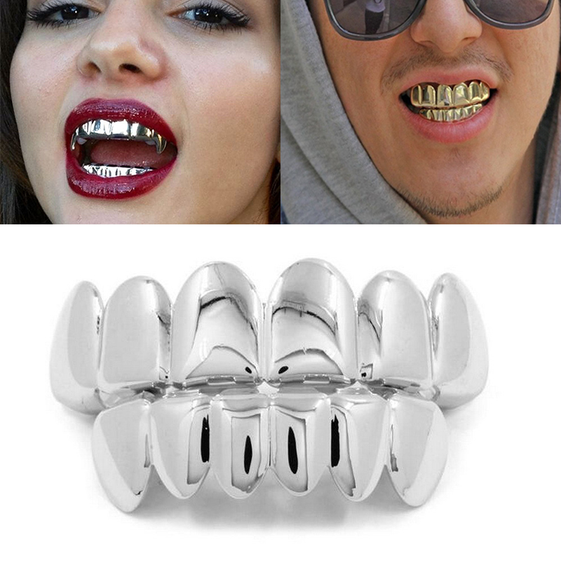 1Set Hip Hop Top&Bottom Teeth Grillz Dental Vampire Teeth