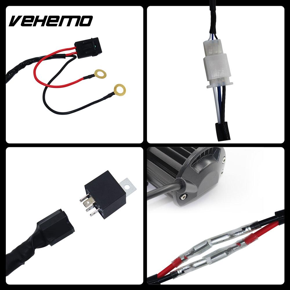Hot Sale Vehemo Connecting 2 Led 300w Professional Universal Wiring Harness Kit Fuse Relay Car Tuning Line Set Cable Headlight