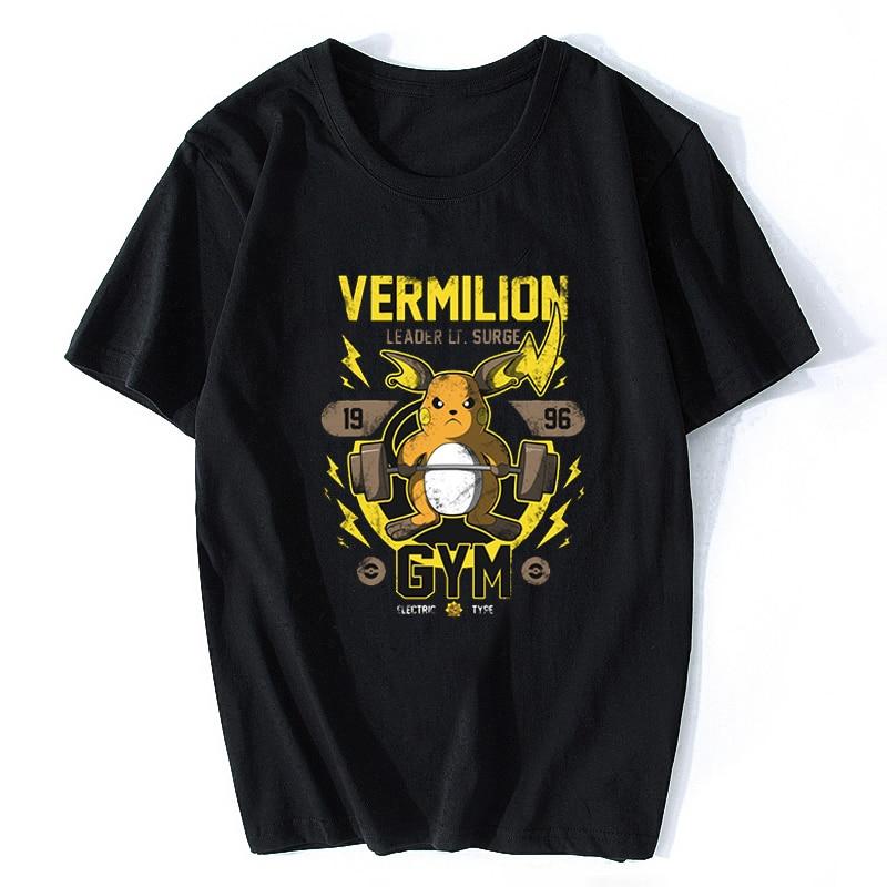 Men T-shirt Eevee Evolution Pikachu GYM Pokemon Gamer Short Sleeve Men/women Anime Tshirt Harajuku Hip Hop Tees Tops