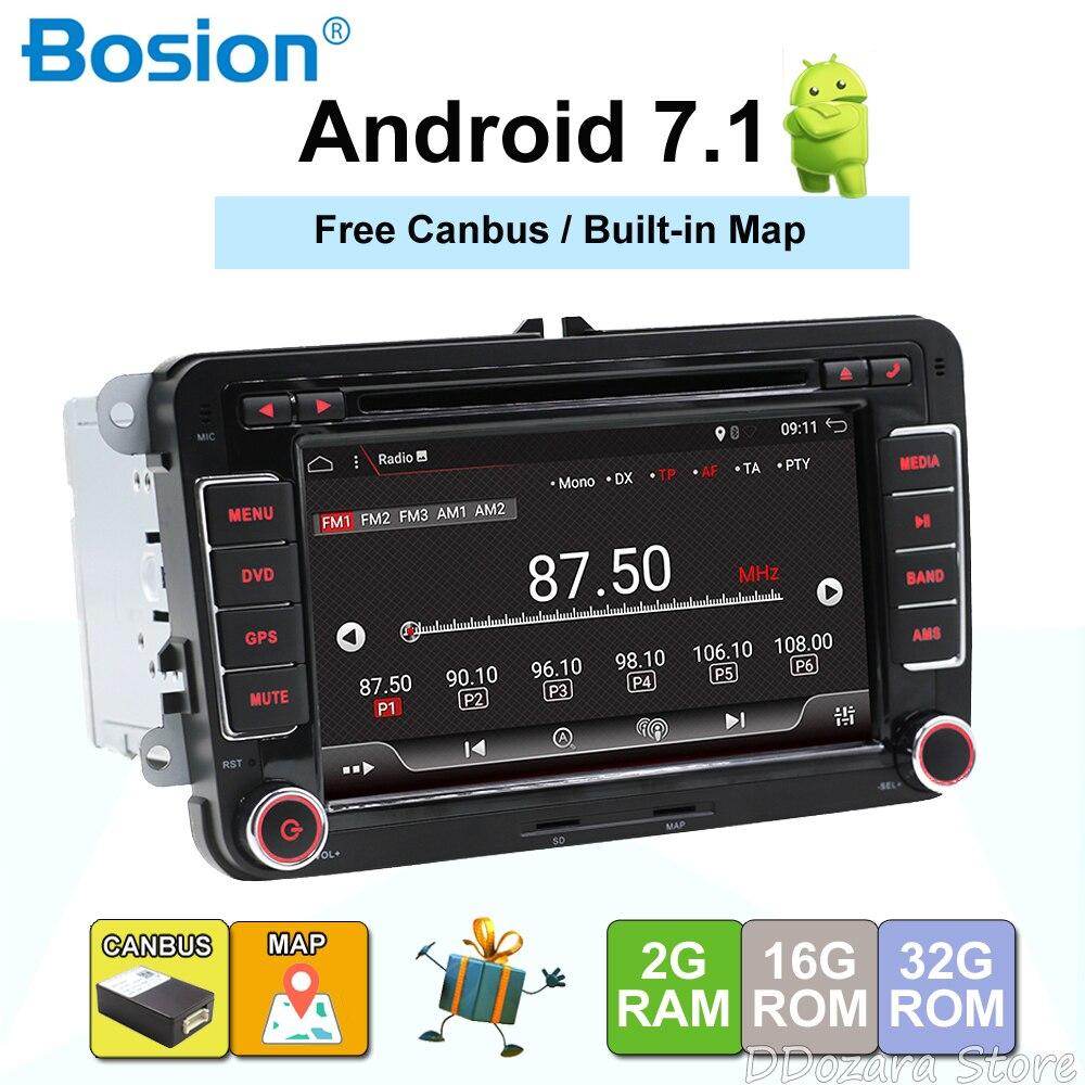 Android 7.1 7 2din DVD De Voiture pour VW POLO GOLF 5 6 POLO PASSAT B6 CC JETTA TIGUAN TOURAN EOS SHARAN SCIROCCO CADDY avec GPS Navi