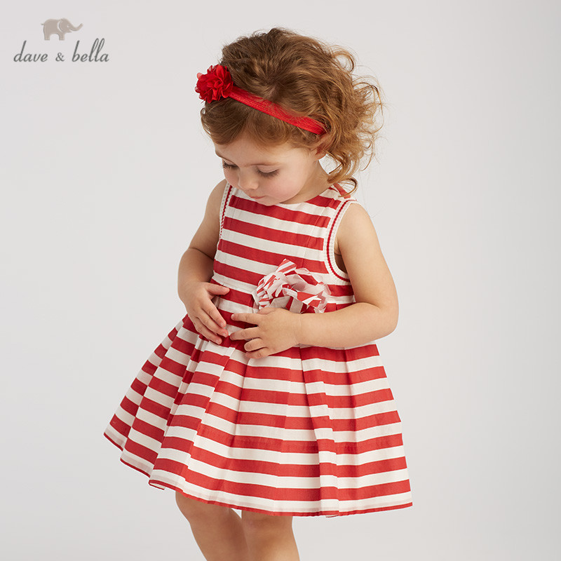 DB10192 dave bella summer baby girl s princess cute floral striped dress children party dress kids