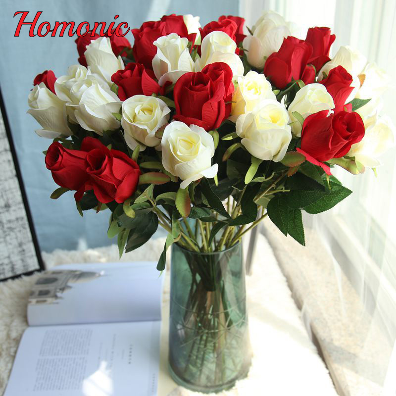 Artificial & Dried Flowers 5pcs/lot French Rose Artificial Flowers Real Touch White Rose Flowers Home Decorations For Wedding Party Or Birthday Bouquet Delaying Senility
